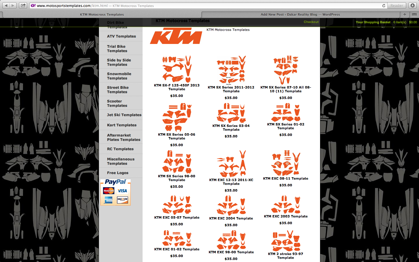 KTM Bike Graphic Template